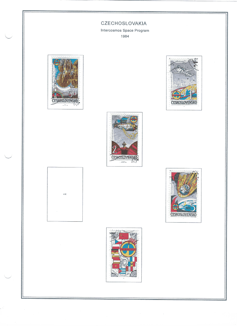 Czechoslovakia's 1984 Intercosmos Space Program   A Custom Stamp Album Page