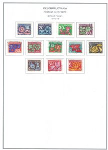 Czechoslovakia Flower Style Postage Due Stamps of 1971-1972