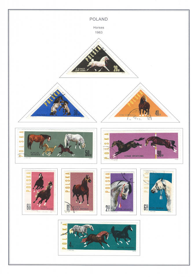 Poland Horses 1963 Steiner Stamp Album Pages