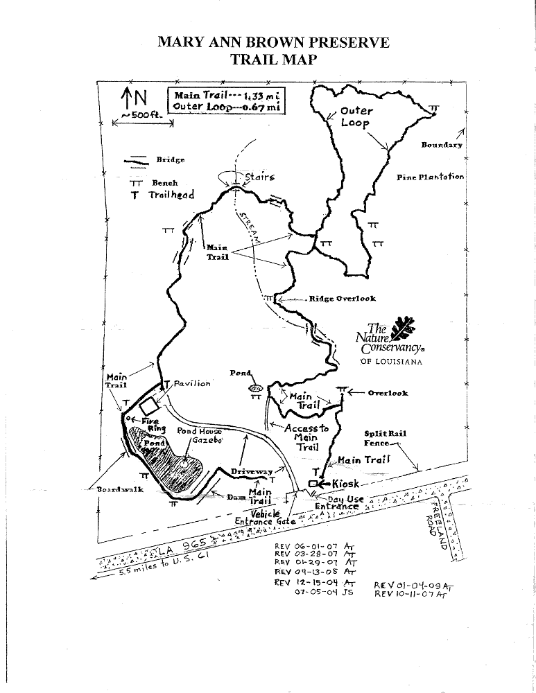 Map of the trail at Mary Ann Brown Preserve