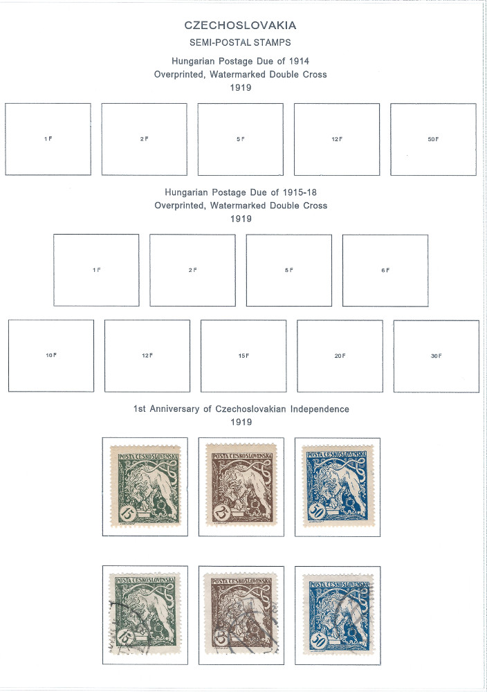 Czechoslovakia 1st Year of Independence Stamps | A Steiner Page Hack