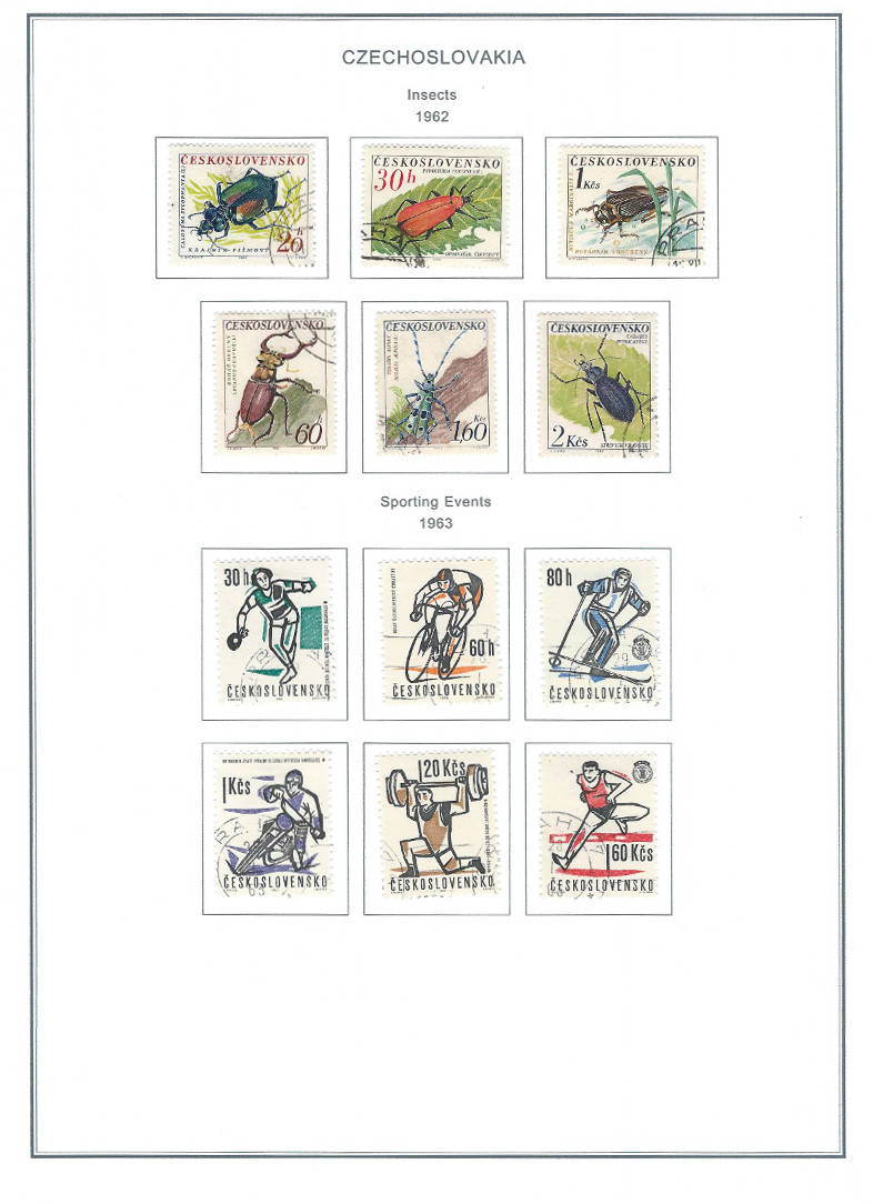 1962 Insects, 1963 Sporting Events | Czechoslovakia Steiner Stamp Album Page