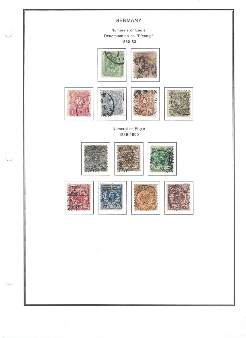 Germany – Late 19th Century Numerals and Eagles on Stamps