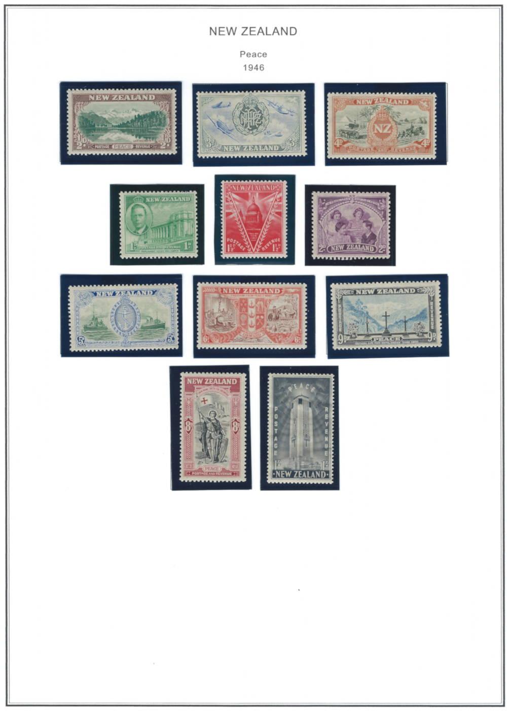 The 1946 New Zealand Peace Issue Stamp Series