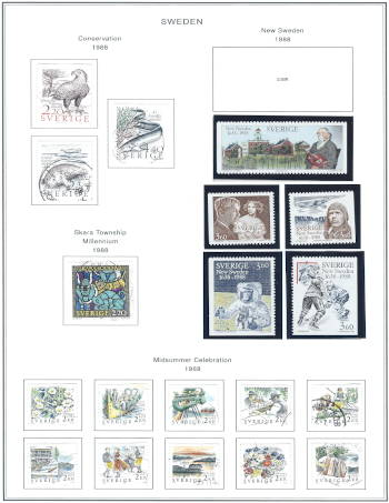 1988 Sweden Stamps | A Steiner Stamp Album Page Hack