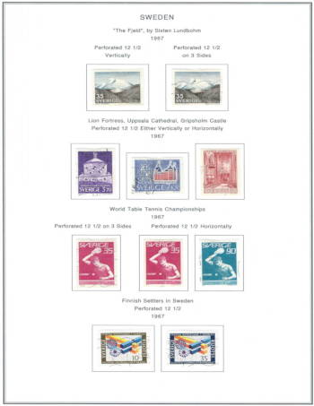 Sweden 1967 Stamp Sets | A Completed Steiner Album Page